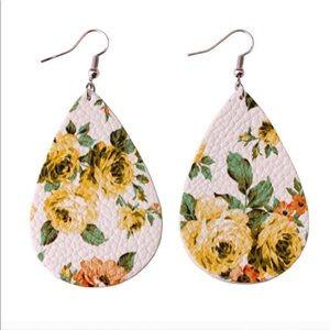 Teardrop Earrings with Yellow Floral Motif